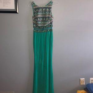Floor length Sea foam Green Prom Dress